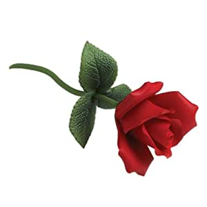 Andrea by Sadek Single Red Rose on Brass Stem Flower Figurine