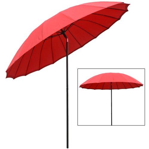 2.5m Tilting Parasol Sun Shade Protection Garden Patio Umbrella Brolly - Red