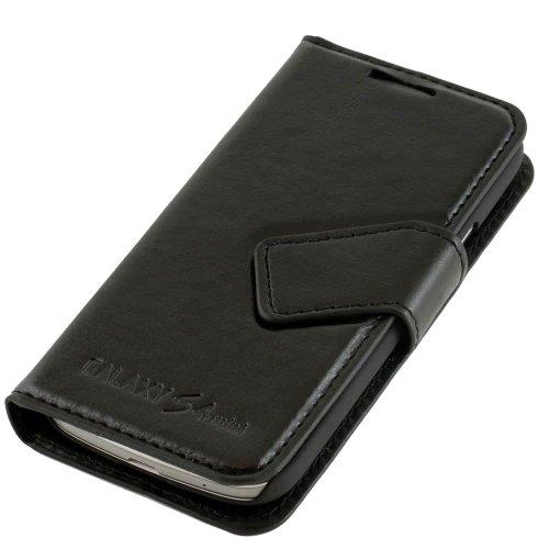 N08 Schwarz Handytasche im Bookstyle für Samsung Galaxy S4 Mini i9190 i9195 Schutzhülle Schutzschale Hülle Schale Bumper Flip Tasche Etui Case Hülle Black