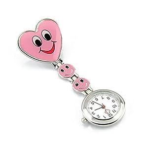 SODIAL(R) Reloj Tipo Enfermera Cuarzo Esfera Redondo Corazon Risa Color Rosa por SODIAL(R)