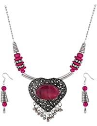 Aradhya Designer Heart Shaped Metal And Pink Stone Tibetan Necklace With Earrings For Women And Girls