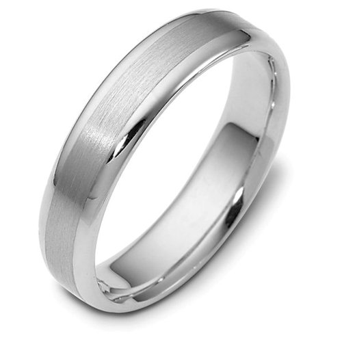 10K White Gold, Satin and Polished 5MM Wedding Band (sz 11)