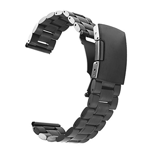 Vetoo 304 Stainless Steel 22mm Watch Bands for Moto 360 2nd Gen 46mm,Pebble Time,Time Steel,Classic,ASUS ZenWatch WI500Q,WI501Q,Samsung Gear 2 R380,Neo R381,Live R382,LG G Watch W100,Urbane,R(Black) (Extra Long Watch Band compare prices)