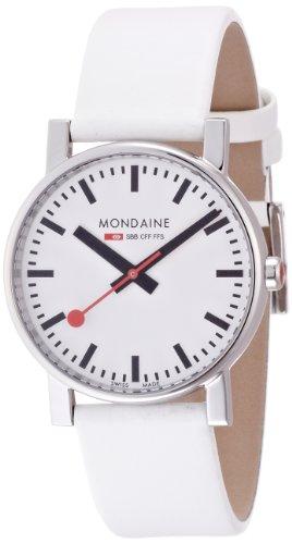 Mondaine Evo A658.30300.11SBN - Reloj analógico de cuarzo para hombre, correa de cuero color blanco