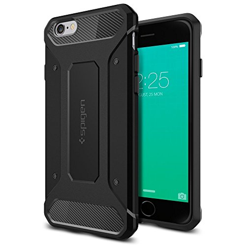 【Spigen】 iPhone6s ケース / iPhone6 ケース カプセル ウルトラ ラギッド [ 落下 衝撃 吸収 ] アイフォン6s /  6 用 米軍MIL規格取得 耐衝撃カバー (ブラック 【SGP11597】)