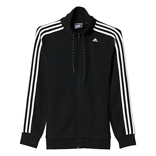 Adidas Ess 3S Tracktop Felpa per Donna, Nero/Bianco (Nero/Bianco), M