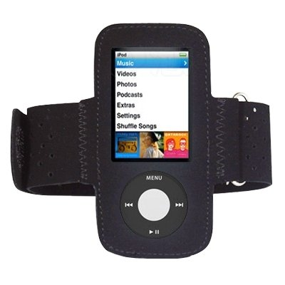 Black Sports Gym Jogging Armband for New Apple iPod Nano 5th Generation 5G (with Video Camera) 8GB & 16GB