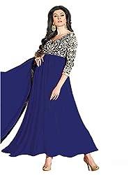 Isha Enterprise Women's Georgette Anarkali Suits(KFS533-11006-D_Blue)