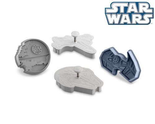 Star Wars Press-and-Stamp Cookie Cutters Set of 4: Death Star, Millennium Falcon, Vaders Tie Fighter, X-Wing Fighter