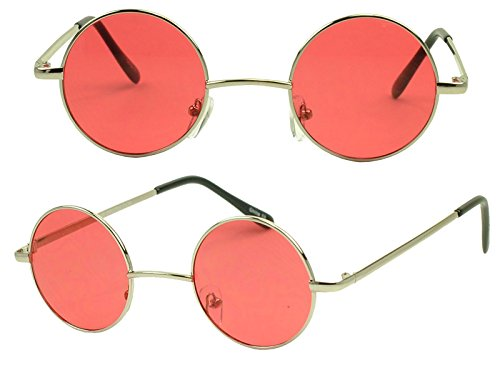 Sunglass Stop - Small Retro Vintage Lennon Style Round Thin Circle Metal Color Tint Sunglasses (Red Lens) (Red Circle Lenses compare prices)