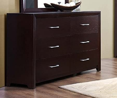 Homelegance Edina 6 Drawer Dresser In Espresso Cherry