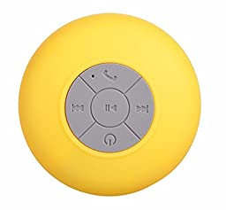 LOLERS Water Resistant Bluetooth Shower Speaker Wireless Portable Audio with Sucker Support Hands-free Calls Function Yellow