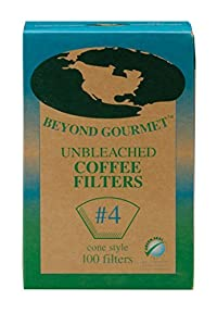 Beyond Gourmet Disposable Coffee Filter Cone, Number 4-Size Filter, Brews 8 to 12-Cup, Box of 100