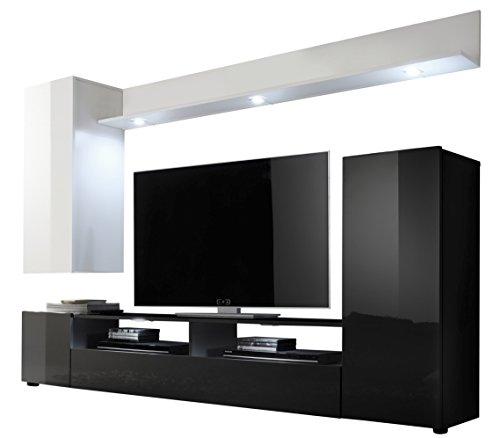 trendteam-DS94702-Wohnwand-Wohnzimmerschrank-weiss-Hochglanz-schwarz-Hochglanz-BxHxT-208x165x33-cm