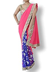 Fuschia Pink Crepe Saree With Navy Blue Pleats And White Floral Embroidery