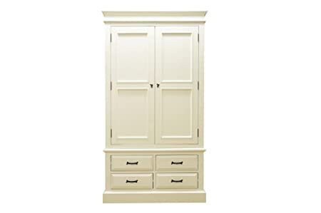 Nice French antique 2 Door 4 Drawer Wardrobe off white