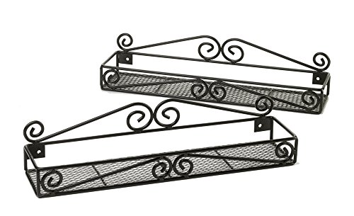 Wall-Mounted Spice Racks, Set of 2 Single-Tier Premium Handcrafted Organizers for Kitchen, Pantry, Cabinet Door; Black Powder-Coated Heavy Iron by Unum (Iron Vanity Set compare prices)