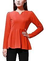 Allegra K Women Long Sleeve Zip Back Fitted Peplum Top Blouses