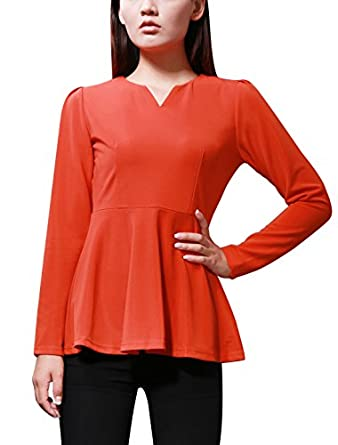 Allegra K Women Long Sleeve Zip Back Fitted Peplum Top Blouses