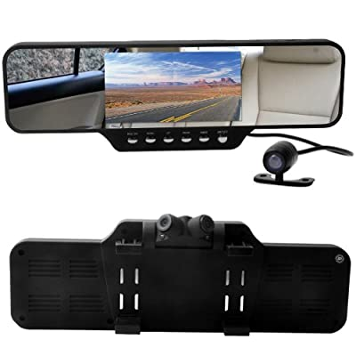 E-PRANCE 2015 Newest D50 Ambarella A7LA70D Car Rear View Mirror DVR 1080P HD Dual Lens with HDR WDR Advanced Image Technology Super Night Vision