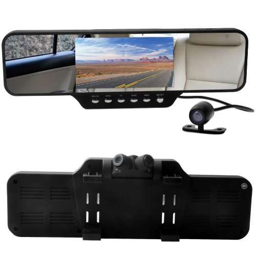 E-Prance Car Dvr Rearview Mirror Hd 4.3 Inch Tft+360 Degree Full View+G-Sensor+Night Vision W/Dual Swivel Front Cameras+Rear Backup Camera