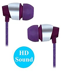 Premium 3.5mm In Ear Bud Stereo Earphones Headset Compatible For Samsung Galaxy S Duos 2 7582 / S Duos 7562 -Purple