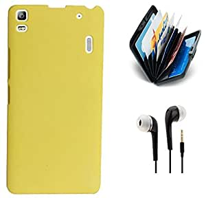 Tidel Yellow Premium Rubberised Hard Case Back Cover For Lenovo A7000 Turbo With 3.5MM Handsfree Earphone & Credit Card Holder