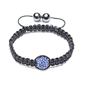 Bling Jewelry Childrens Bracelet Shamballa Inspired Blue Sapphire Color Crystal 10mm
