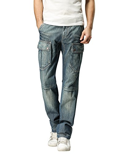 FOXJEANS Men's Monroe Regular Fit Straight Blue Denim Cargo Jeans (44W x 34L)