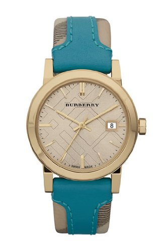 Burberry Gold Engraved Leather Ladies Watch BU9112