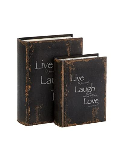 Set of 2 Live, Love, Laugh Wood Book Boxes