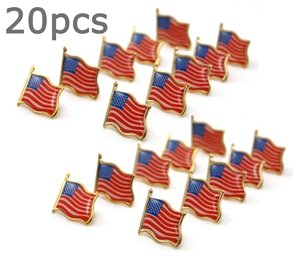 Bluecell 20 PCS Gold plated American Flag Lapel Pin+Free Bluecell Cable Tie