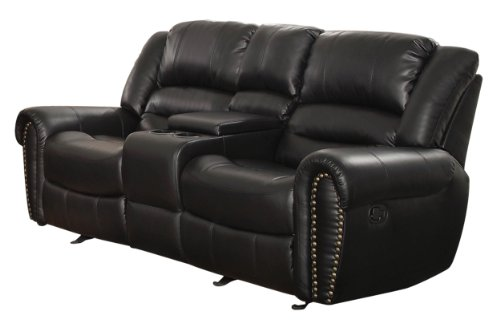 Homelegance 9668Blk-2 Double Glider Reclining Loveseat With Center Console, Black Bonded Leather front-992884