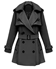 iLoveSIA Womens Double Breasted Military Trench Coat
