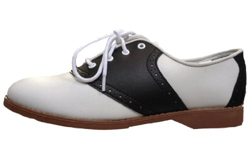 Hip Hop 50S Shop Womens Saddle Oxford Black/White Shoes, 7 M Us