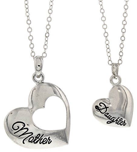 Mother Daughter Jewelry Silver-Tone Heart Pendant 2-piece Necklace Set Mother Daughter Bond Forever Jewelry Box Mother Daughter Necklace Set Mother's Day Gifts for Mom and Daughter from Dad