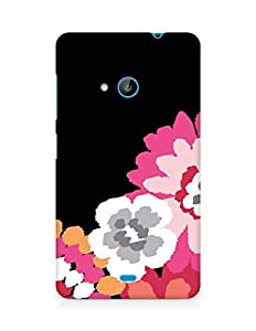 Amez designer printed 3d premium high quality back case cover for Microsoft Lumia 535 (black pink floral)