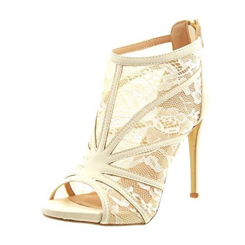 Sopily - Scarpe da Moda sandali scarpe decollete stiletto alla caviglia donna merletto multi-briglia Tacco Stiletto tacco alto 11 CM - Beige WLD-14-628-120 T 41