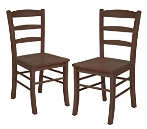 Set of 2 Ladder Back Chair, RTA, Antique Walnut by Winsome