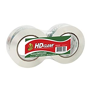 Duck Brand HD Clear High Performance Packaging Tape, 1.88-Inch x 109.3-Yard Roll, Crystal Clear, 2 Rolls (299010)