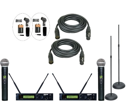 Shure Ulxp24D/58 M1 Dual Wireless Handheld System Using The Popular Sm-58 Handheld Capsule For Live Performance And Dj With Added Performance Accessories