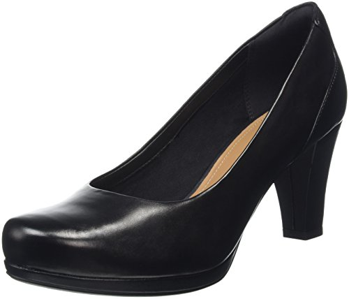 Clarks Chorus Chic, Scarpe con Tacco Donna, Nero (Black Leather), 38 EU