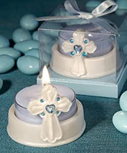 blue cross candle baby shower favors baby