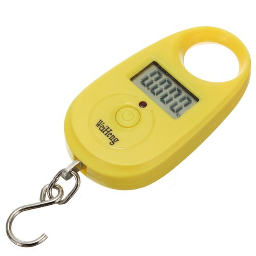 Mini Portable Peson Pèse Balance Scale Crochet Digital Electronic 25kg/5g jaune