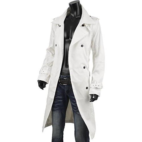 トレンチコート メンズ ロングコート ロング ダブル 大きいサイズあり ビジネス カジュアル sg100127 白 LL