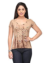 Cappadocia Women's Slim Fit Top (Cap00005 Ebony_L, Multicolor, Large)