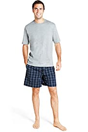 Pure Cotton Check Woven Pyjama Shorts & T-Shirt