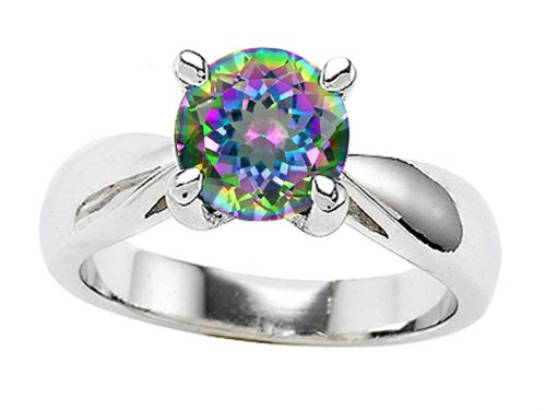 Star K 7Mm Round Rainbow Mystic Topaz Engagement Ring Size 8.5