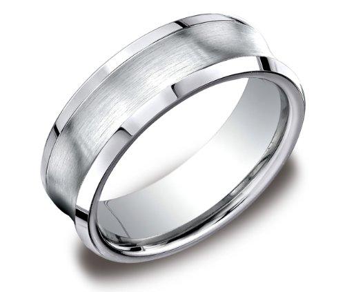Men's Cobalt 7mm Comfort Fit Wedding Band Ring Concave Satin Center and High Polished Beveled Edges, Size 8.5