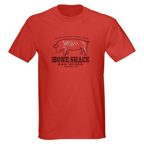 Bone Shack BBQ Retro Dark T-Shirt by CafePress